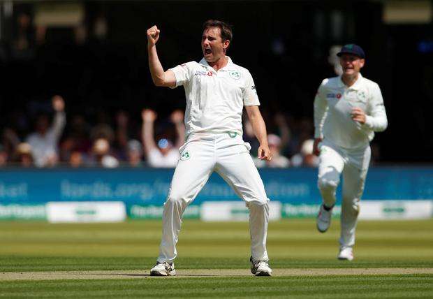 Cricket - Test Match - England v Ireland - Lord's Cricket Ground, London, Britain - July 24, 2019 Ireland's Tim Murtagh celebrates taking the wicket of England's Chris Woakes Action Images via Reuters/Andrew Boyers