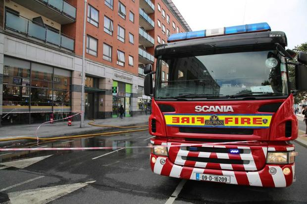 Emergency services at the scene of the blaze on Parnell Street Photo: Darragh Kelly/INM