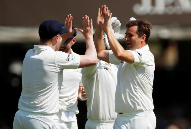 Cricket - Test Match - England v Ireland - Lord's Cricket Ground, London, Britain - July 24, 2019 Ireland's Tim Murtagh celebrates taking the wicket of England's Jason Roy Action Images via Reuters/Andrew Boyers