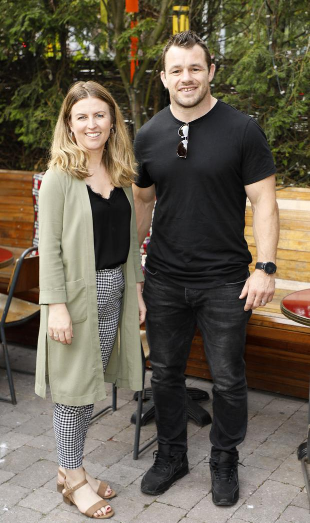 Karen O'Brien and Cian Healy at the Bull's-Eye BBQ in the Odeon. Picture: Kieran Harnett