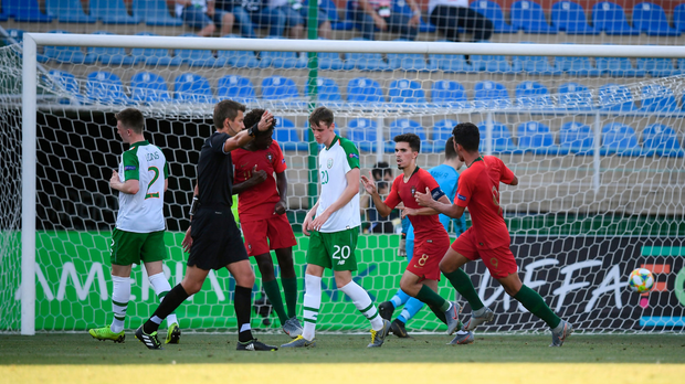 Vitor Ferreira of Portugal celebrates after scoring his side's first goal during the 2019 UEFA U19 Championships semi-final match between Portugal and Republic of Ireland at Banants Stadium in Yerevan, Armenia. Photo by Stephen McCarthy/Sportsfile