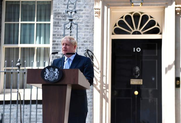 New Prime Minister Boris Johnson makes a speech outside 10 Downing Street, London. Photo credit: Dominic Lipinski/PA Wire