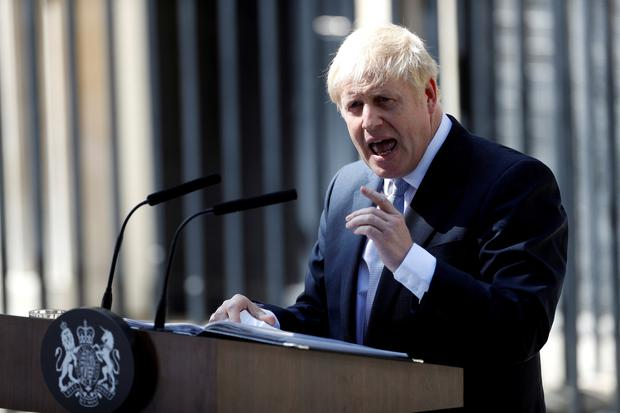 Britain's new Prime Minister, Boris Johnson, delivers a speech outside Downing Street, in London. Photo: REUTERS/Peter Nicholls