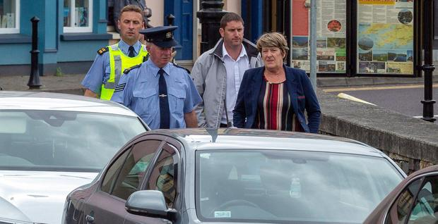 Helen O'Driscoll and her son Shane arrive at Banrty District Court disrtict Court for sentencing on Wednesday afternoon. Picture: John Delea.