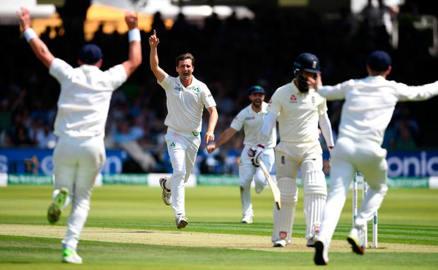 Tim Murtagh of Ireland celebrates dismissing Moeen Ali of England during day one of the Specsavers Test Match between England and Ireland at Lord's Cricket Ground on July 24, 2019 in London, England. (Photo by Gareth Copley/Getty Images)