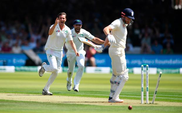 Ireland's Tim Murtagh bowls England's Jonny Bairstow during day one of yesterday's Test at Lord's. Photo: Getty