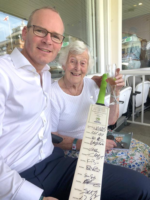 Celebration: Simon Coveney with his 100-year-old grandmother Geraldine Browne at Lord's in London yesterday for Ireland's cricket Test match against England