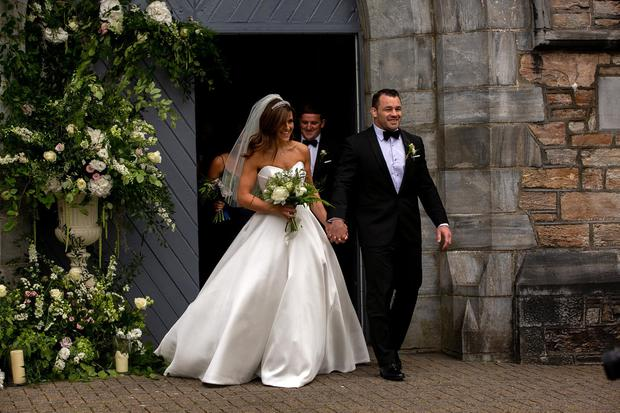 Wedding day: Cian Healy and new bride Laura Smith. Picture: Andy Newman