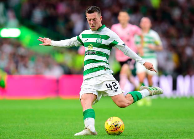 Callum McGregor of Celtic scores in the second half to make it 5-0. Photo: Mark Runnacles/Getty Images