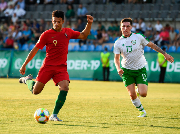 24 July 2019; Gonçalo Ramos of Portugal shoots to score his side's third goal during the 2019 UEFA U19 Championships semi-final match between Portugal and Republic of Ireland at Banants Stadium in Yerevan, Armenia. Photo by Stephen McCarthy/Sportsfile