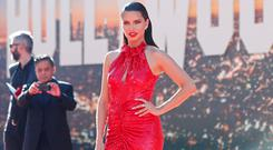 Model Adriana Lima poses at the premiere of