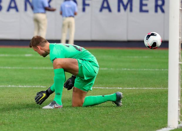 Simon Mignolet #22 of Liverpool gives up a goal against Sporting CP during their Pre Season friendly match at Yankee Stadium on July 24, 2019 in New York City. (Photo by Al Bello/Getty Images)