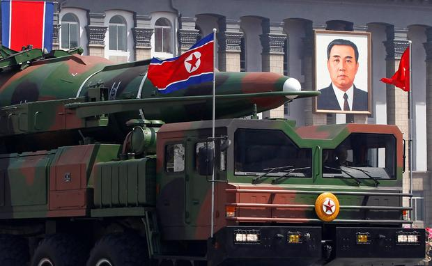 A rocket is carried by a military vehicle during a military parade to celebrate the centenary of the birth of Kim Il-sung. Photo: REUTERS/Bobby Yip
