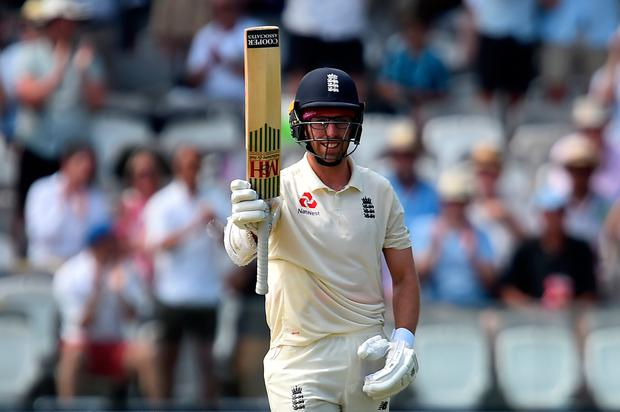 England's Jack Leach celebrates his half century on the second day of the first cricket Test match between England and Ireland at Lord's cricket ground in London on July 25, 2019.