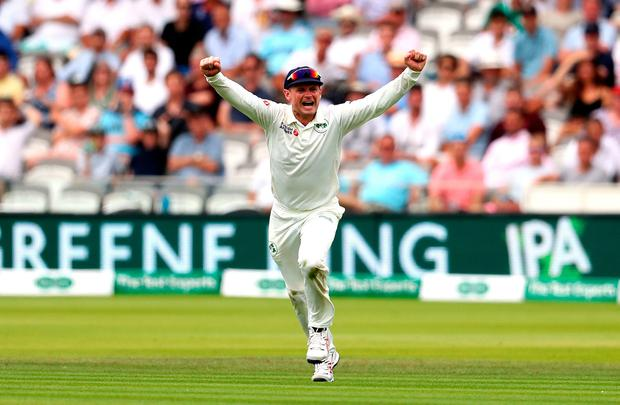 HOWZTHAT: William Porterfield celebrates the fall of Joe Root's wicket on the second day of the Test at Lord's. Photo: PA