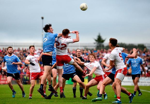 Final push: Tyrone pushed Dublin hard in Omagh last year but are unlikely to show their full hand against Jim Gavin's side next weekend. Photo: Stephen McCarthy/Sportsfile