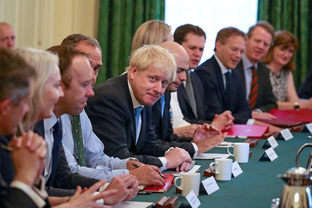 New line-up: Britain's Prime Minister Boris Johnson holds his first cabinet meeting at Downing Street in London. Photo: Aaron Chown via REUTERS