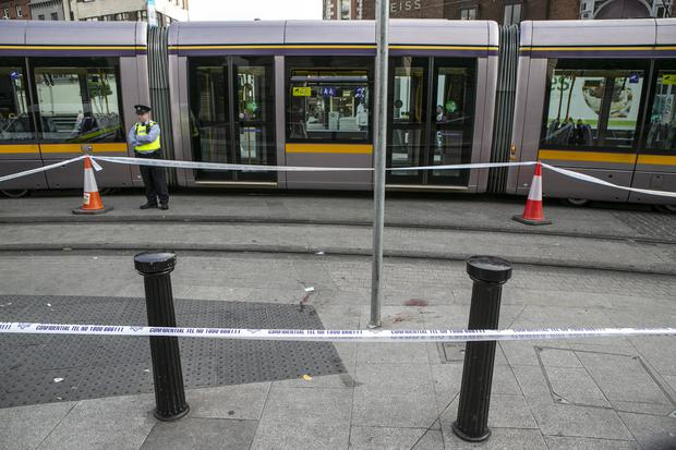 Scene of the overnight stabbing incident at the Fusillers Gate to St Stephens Green on the LUAS Line (Photo: Kyran O'Brien)