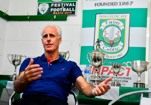 Ireland manager Mick McCarthy speaks to media during the FAI Festival of Football at Trim Celtic in Trim, Meath. Photo by Sam Barnes/Sportsfile