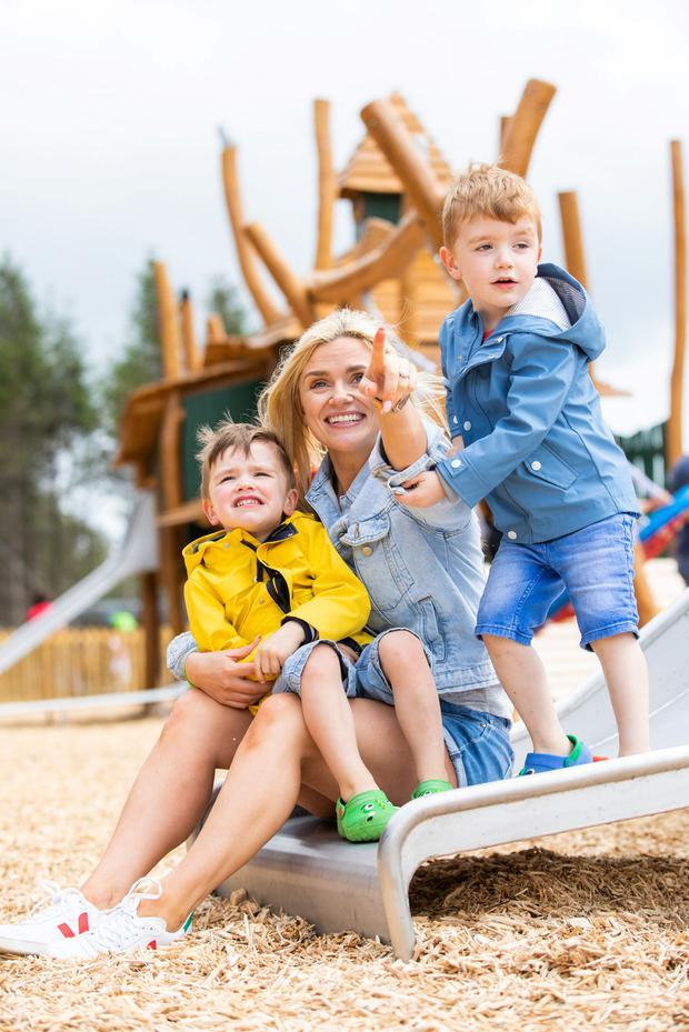 TV personality Karen Koster with her sons (left) JJ (3) and (right) Finn (4) at the official launch of Center Parcs Longford Forest. Picture: Naoise Culhane