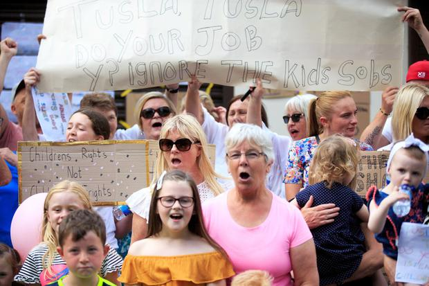 Residents from Ballybough at a protest outiside Hyde and Seek creche on Tolka Road in Dublin. Pic:Mark Condren 26.7.2019