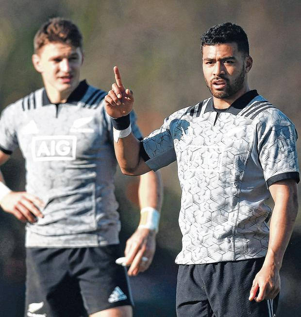 Richie Mo'unga (right) starts at out-half for the All Blacks against South Africa, with Beauden Barrett at full-back, as head coach Steve Hansen weighs up his attacking options ahead of the Rugby World Cup in Japan. Photo: Hagen Hopkins/Getty Images