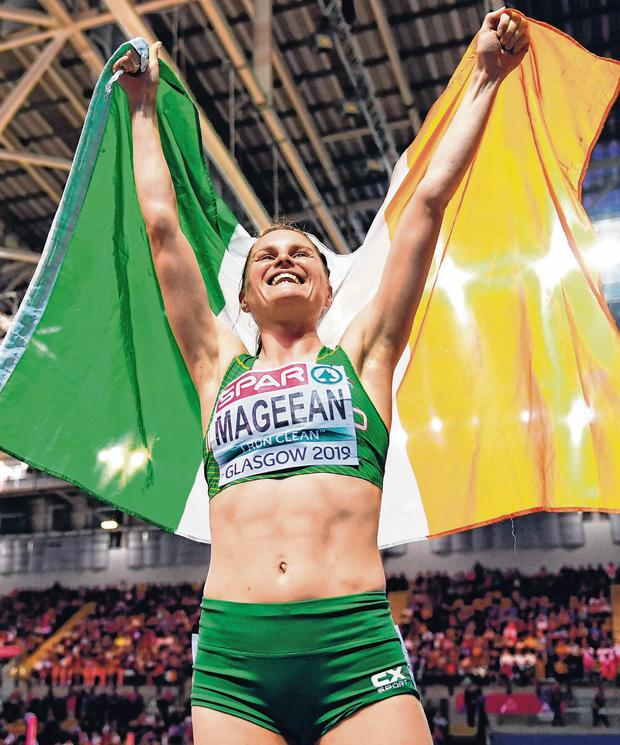 Highs and lows: Ciara Mageean celebrates after winning bronze in the 1,500m at the European Indoor Championships in Glasgow in March this year. Photo: Sam Barnes/Sportsfile