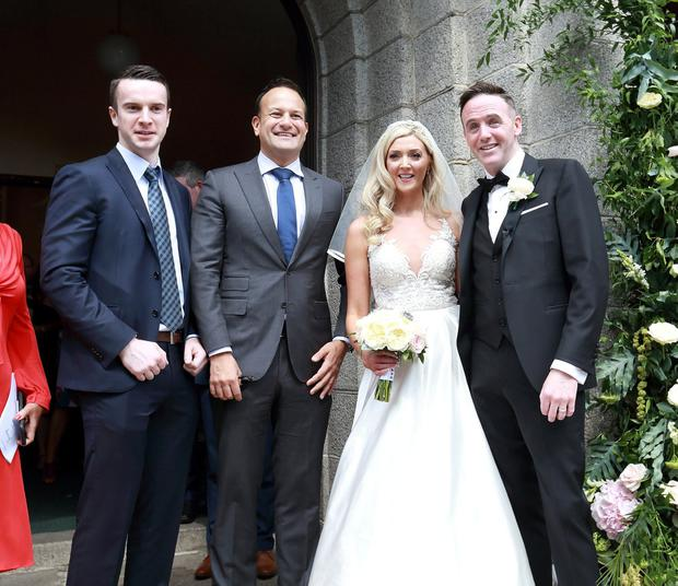 Taoiseach Leo Varadkar and his partner Matt Barrett pictured with Tom Neville TD and Jenny Dixon after their wedding ceremony at Corpus Christi Church on Home Farm Rd in Dublin.Picture Credit:Frank McGrath 27/7/19