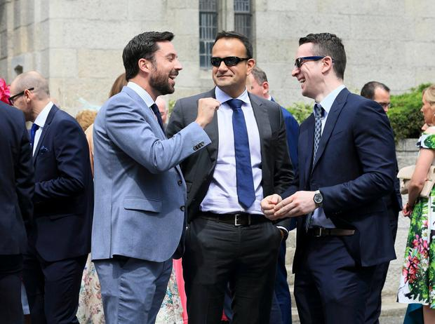 Taoiseach Leo Varadkar and his partner Matt Barrett pictured with Eoghan Murphy , after Tom Neville TD married Jenny Dixon at Corpus Christi Church on Home Farm Rd in Dublin.Picture Credit:Frank McGrath 27/7/19