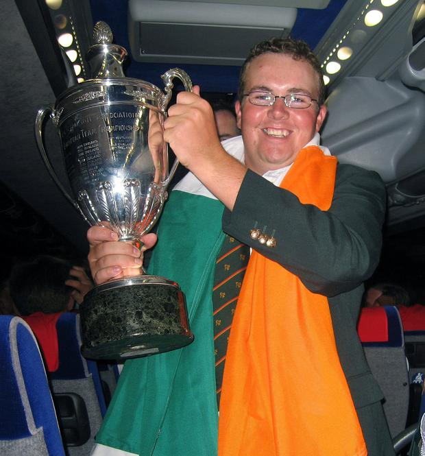 Shane Lowry at the homecoming after victory in the European Team Championship at the Royal Park Golf Club in Turin in 2008