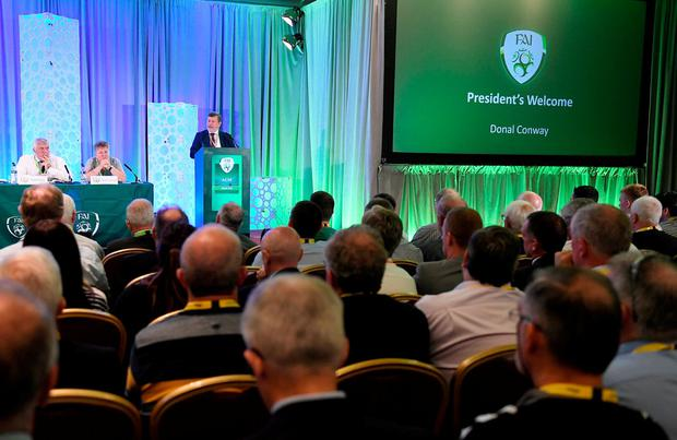 FAI president Donal Conway addresses delegates during yesterday's AGM at the Knightsbook Hotel in Trim. Conway was returned unopposed, with Paul Cooke elected as the Association's new vice president. Photo: Brendan Moran/Sportsfile