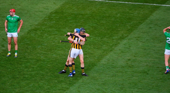 TJ Reid, left, and Walter Walsh of Kilkenny celebrate after the GAA Hurling All-Ireland Senior Championship Semi-Final match between Kilkenny and Limerick at Croke Park in Dublin. Photo by Daire Brennan/Sportsfile