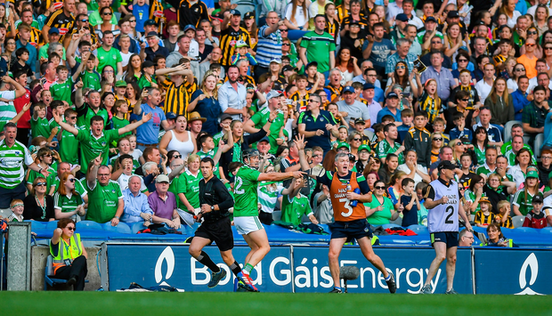 Darragh ODonovan of Limerick appeals after taking a sideline cut in the final seconds during the GAA Hurling All-Ireland Senior Championship Semi-Final match between Kilkenny and Limerick at Croke Park in Dublin. Photo by David Fitzgerald/Sportsfile