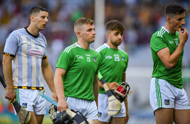 27 July 2019; Limerick players following the GAA Hurling All-Ireland Senior Championship Semi-Final match between Kilkenny and Limerick at Croke Park in Dublin. Photo by David Fitzgerald/Sportsfile
