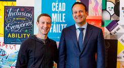 CORRESPONDENCE: Leo Varadkar with Facebook chief Mark Zuckerberg at the company's Silicon Valley headquarters in 2017