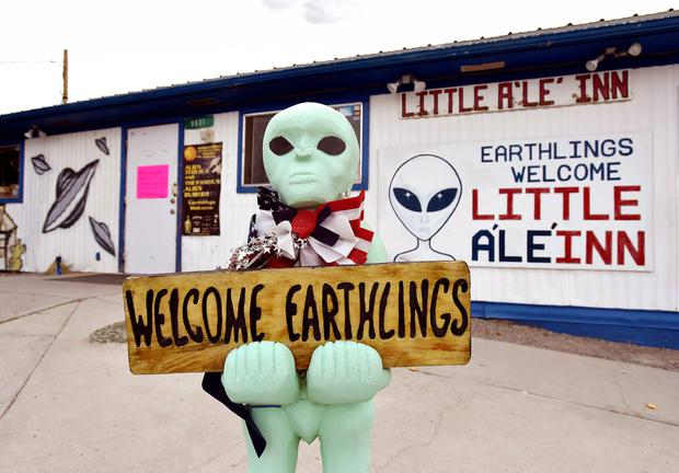 TAKE US TO YOUR LEADER: A statue welcomes guests to the Little A'le' Inn restaurant and gift shop in Rachel, Nevada, en route to Area 51. Photo: David Becker/Getty Images