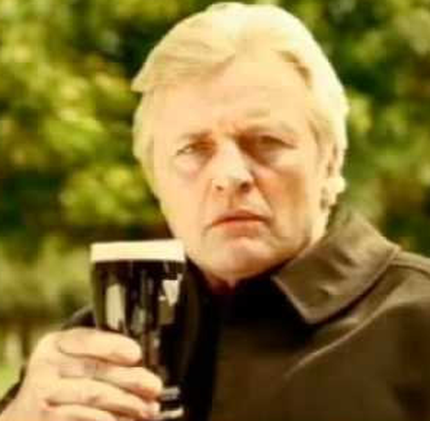 Appearing in one of a series of Guinness ads