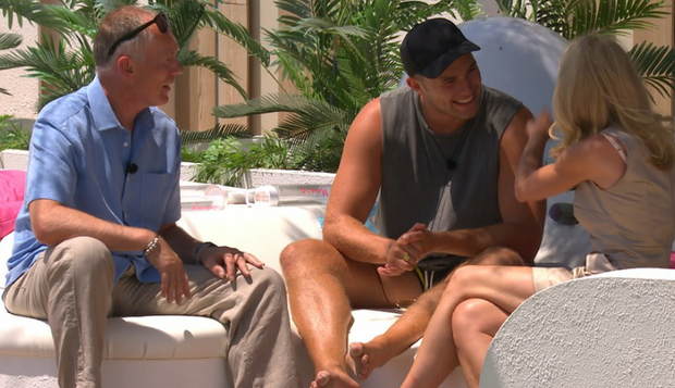 Curtis chats with his parents on Love Island. PIC: ITV2