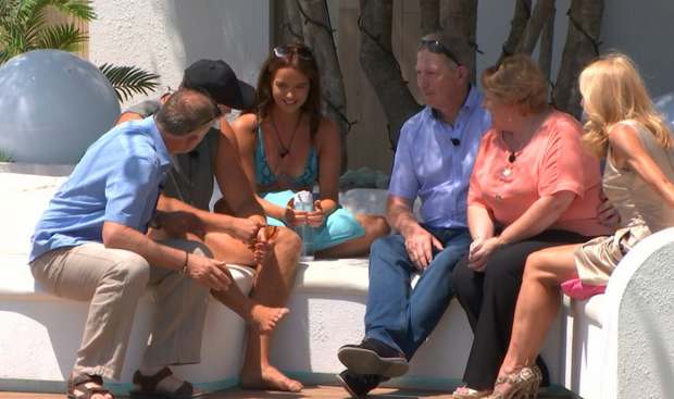 Maura and Curtis meet each other's parents on Love Island. PIC: ITV2