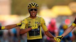 Cycling - Tour de France - The 128-km Stage 21 from Rambouillet to Paris Champs-Elysees - July 28, 2019 - Team INEOS rider Egan Bernal of Colombia celebrates at the finish. REUTERS/Christian Hartmann