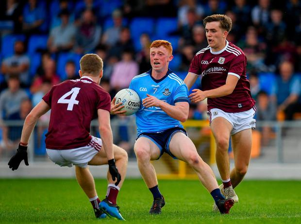 Dublin's Seán Lambe in action against Galway's Eoin McFadden, left, and Rory Cunningham. Photo: Seb Daly/Sportsfile