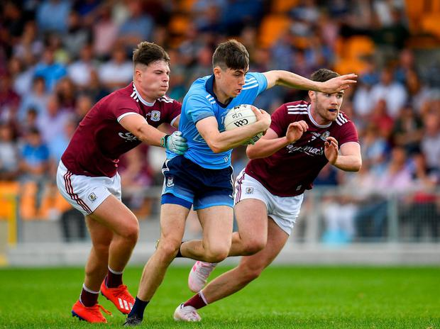 Dublin's Brian O'Leary in action against Galway's Brian Harlowe, left, and Jack Kirrane. Photo: Seb Daly/Sportsfile