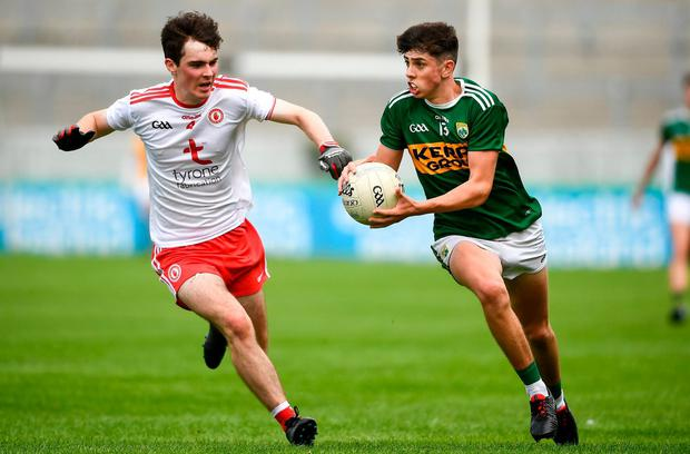 Kerry's Dylan Geane in action against Tyrone's Séamus Sweeney. Photo: David Fitzgerald/Sportsfile