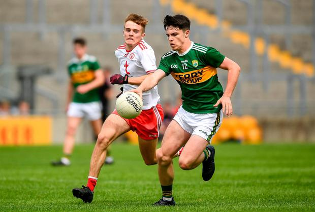 Kerry's Gearóid Hassett in action against Tyrone's Conor Cuddy. Photo: David Fitzgerald/Sportsfile