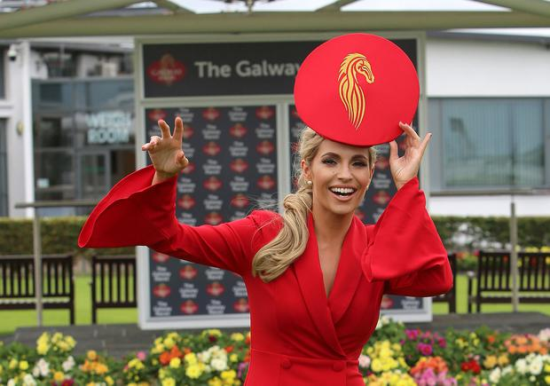 Galway girl: Model Pam Richardson at Ballybrit yesterday – this year she will be wearing a hat with the new Galway Races emblem designed by Galway milliner Gillian Duggan. Photo: Hany Marzouk