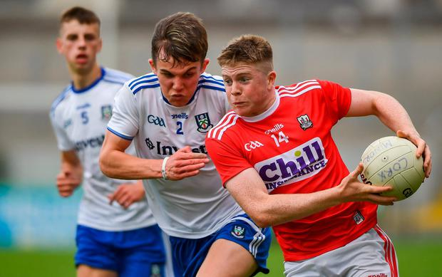Cork's Patrick Campbell in action against Monaghan's Cian Maguire. Photo: David Fitzgerald/Sportsfile