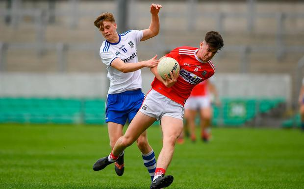 Cork's Jack Lawton in action against Monaghan's Karl Gallagher. Photo: David Fitzgerald/Sportsfile