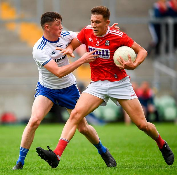 Cork's Adam Walsh Murphy in action against Monaghan's Darragh Treanor. Photo: David Fitzgerald/Sportsfile