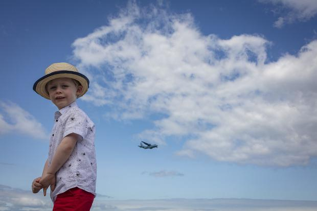 28/7/19 Jacob Keane, age 3, Tallaght, at the Bray Air Display in Bray, Co Wicklow. Picture:Arthur Carron