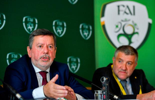 Faced questions: FAI president Donal Conway, left, and newly elected FAI vice president Paul Cooke speaking after the FAI AGM at Knightsbrook Hotel in Trim, Co Meath. Photo: Brendan Moran/Sportsfile